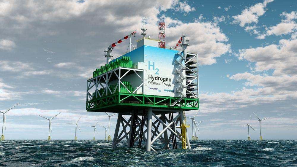 På slike plattformer kan energi fra havvindparker konverteres til hydrogen. Denne plattformen er en modell utviklet av Tractebel Engineering og Tractebel Overdick. Produksjonen av hydrogen kan også skje på land.