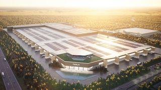 Slik ser Tesla for seg at Giga Berlin skal se ut når fabrikken er klar.
