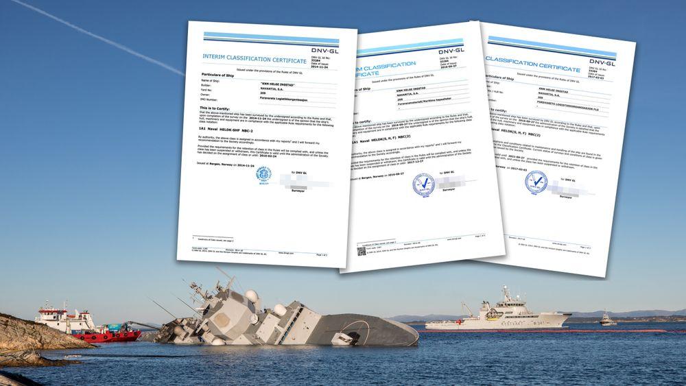 Klassesertifikatene som DNV GL utstedte til KNM Helge Ingstad.