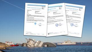 Disse sertifikatene er grunnlaget for hele «Helge Ingstad»-konflikten mellom staten og DNV GL