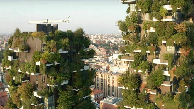 Høyhus planter grønn fasade trær absorberer co2 klima vertikal skog Il Bosco Verticale di Milano forurensning