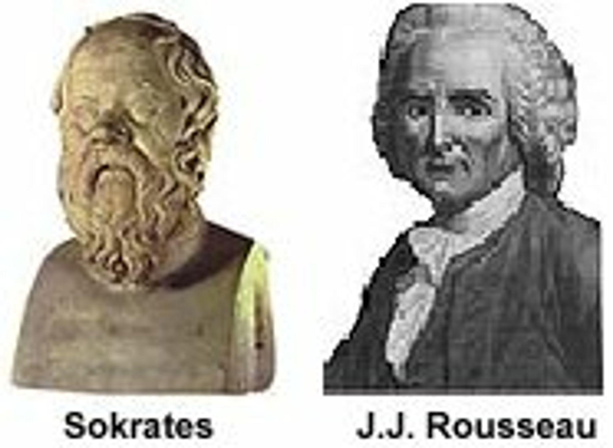 Filosofene Sokrates og J.J. Rousseau.