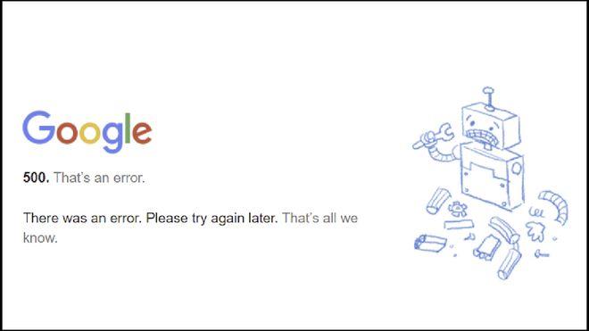 Google-feilmelding.