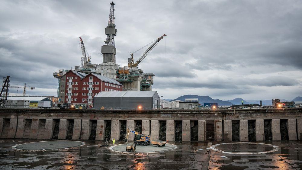 Her på Stord verft har byggingen av Hywind Tampen startet.