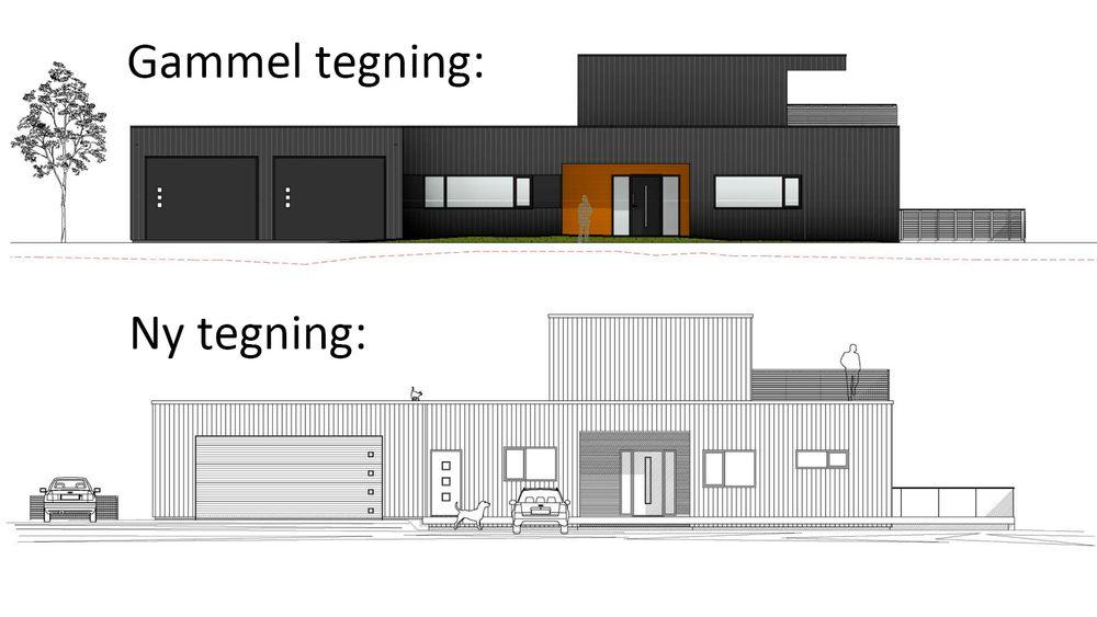 Den øverste tegningen viser Garviks forslag til fasade. Den nederste fra TPS er det som ble oppført.