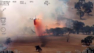 Klar for brannsesongen: Etter et døgns flytid er Luftforsvarets gamle Hercules i Australia