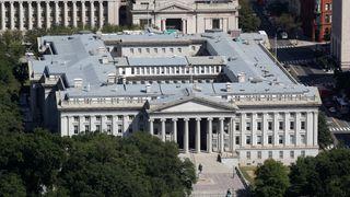 Det amerikanske finansdepartementet i Washington, fotografert i fugleperspektiv.