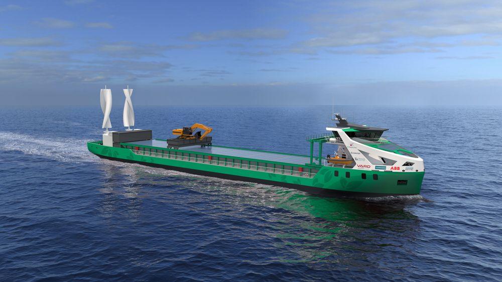 """Maroff-støttet prosjekt: Nullutslipps bulkskip med modulbasert design og energisystem i utskiftbar """"plug and play""""-løsning. Designes for frakt mellom Norge og sør på kontinentet."""