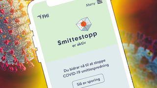 Smittestopp-appen med illustrasjonsbilde av koronavirus i bakgrunnen.