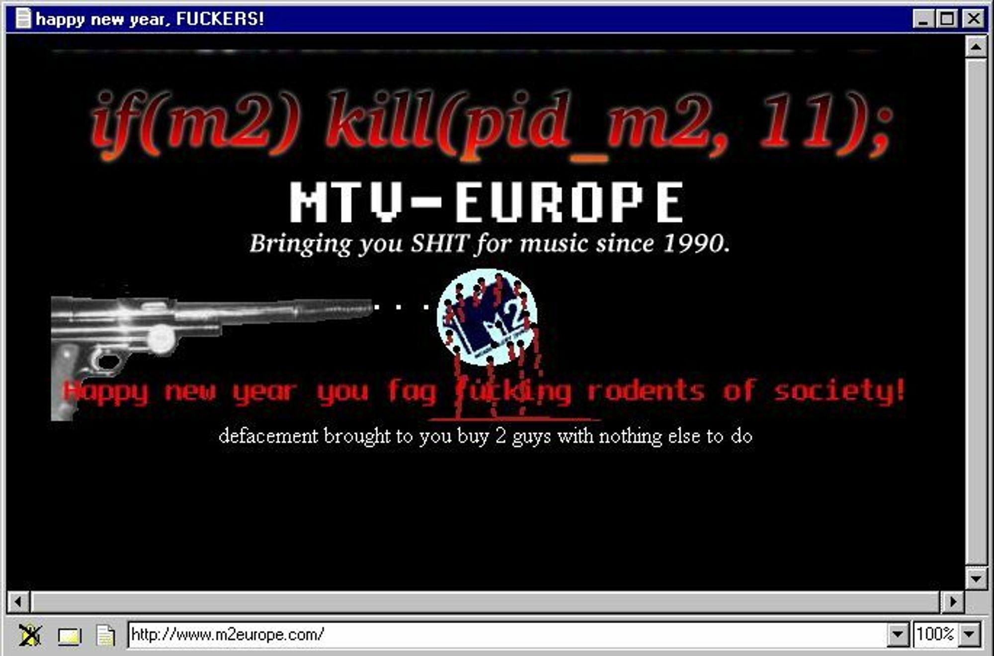 «Nyttårs-defacement» av nettstedet til M2 Europe
