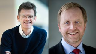 Telenors Norgessjef Petter-Børre Furberg og Skift-leder Bjørn Kjærand Haugland.