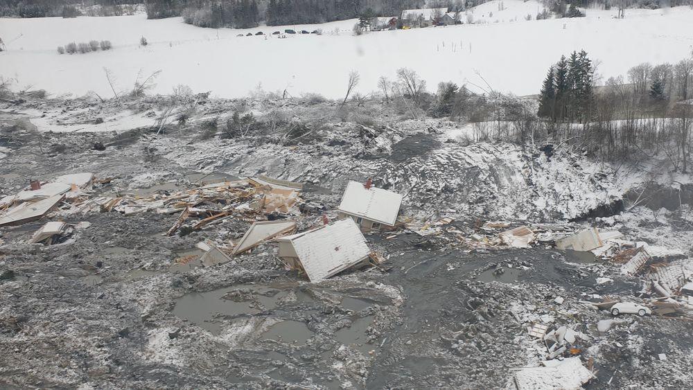 Et nytt oversiktsbilde fra NVE, som viser ødeleggelsene etter skredet i Gjerdrum.