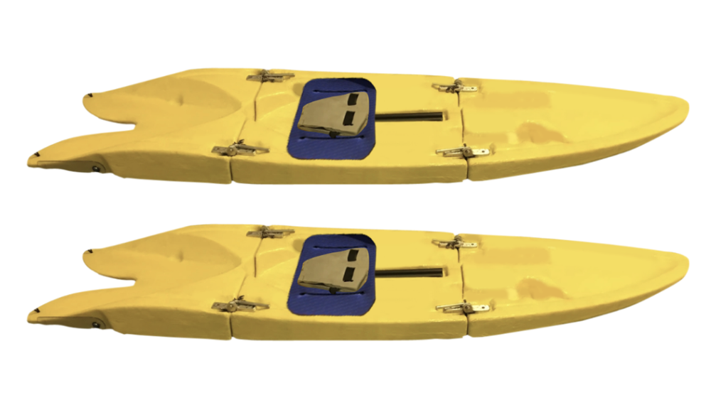 En sammenleggbar kajakk og padlebrett i ett, som skal ta ned terskelen for å komme seg ut i friluft.