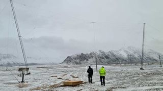 HF-antenner ved Isfjord radio på Svalbard