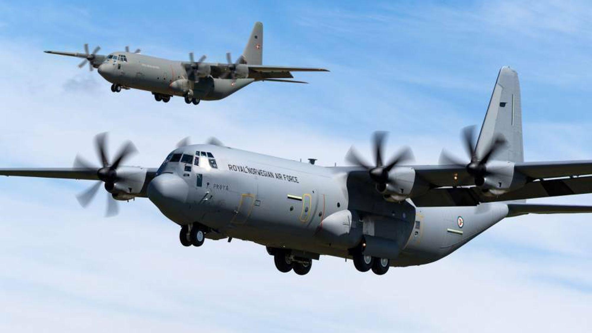 Danske og norske C-130J skal vedlikeholdes i England i opp til sju år framover (montasje).
