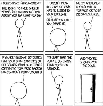 xkcd-stripe om hva ytringsfrihet egentlig handler om.