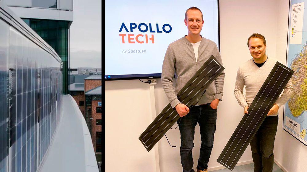 Vegar Strand og Simen Sagstuen utvikler fasadekledning med solceller.