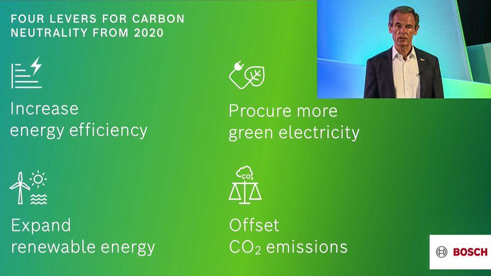 Bosch satte seg heftige mål om karbonnøytralitet for et år siden. Så har de oppdaget at dette går raskere enn de har trodd og at et mål som det å øke virkningsgraden i alle prosessene i konsernet har en positiv økonomisk virking på resultatet.