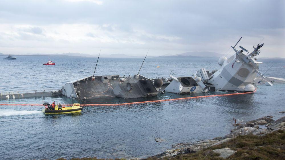 Fregatten KNM Helge Ingstad kolliderte med et tankskip i november 2018.