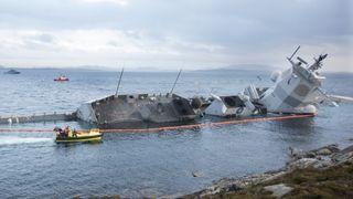 Fregatten KNM Helge Ingstad kolliderte med et tankskip i november 2018. Foto: Terje Pedersen / NTB