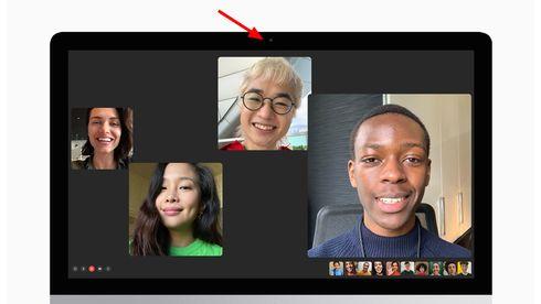 Apple Imac med pil som viser hvor kameraet sitter.