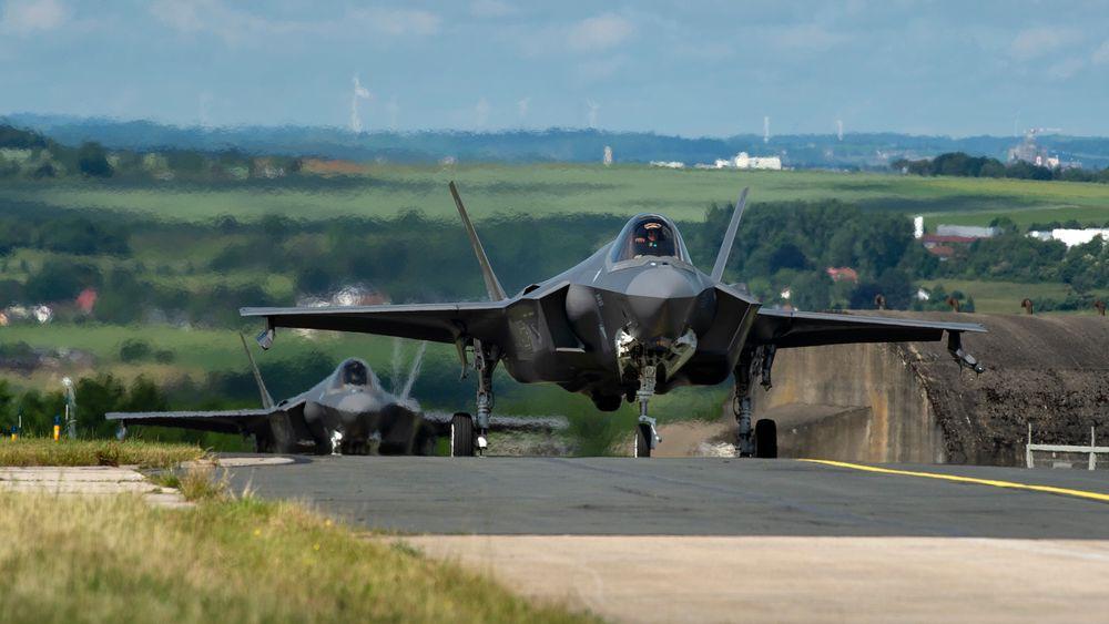 F-35A fra US Air Force på flybasen Spangdahlem i delstaten Rheinland-Pfalz vest i Tyskland, nært Trier og Luxembourg.