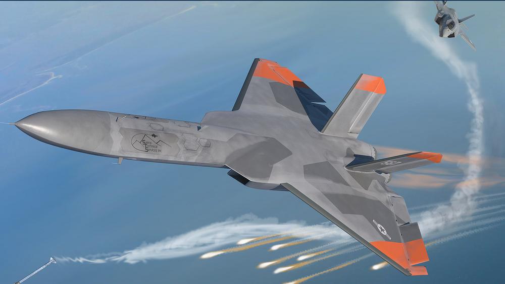 Illustrasjon av den nye 5GAT-måldronen sammen med et F-35.