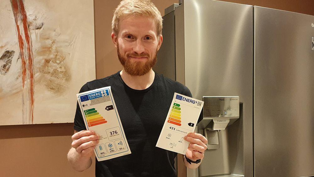 Det nye kjøleskapet til Bendik Solum Whist har i dag energimerke A++. Men fra 1. mars endres skalaen og Whists kjøleskap deiser ned til energiklasse F - den nest dårligste.  Foto: Privat