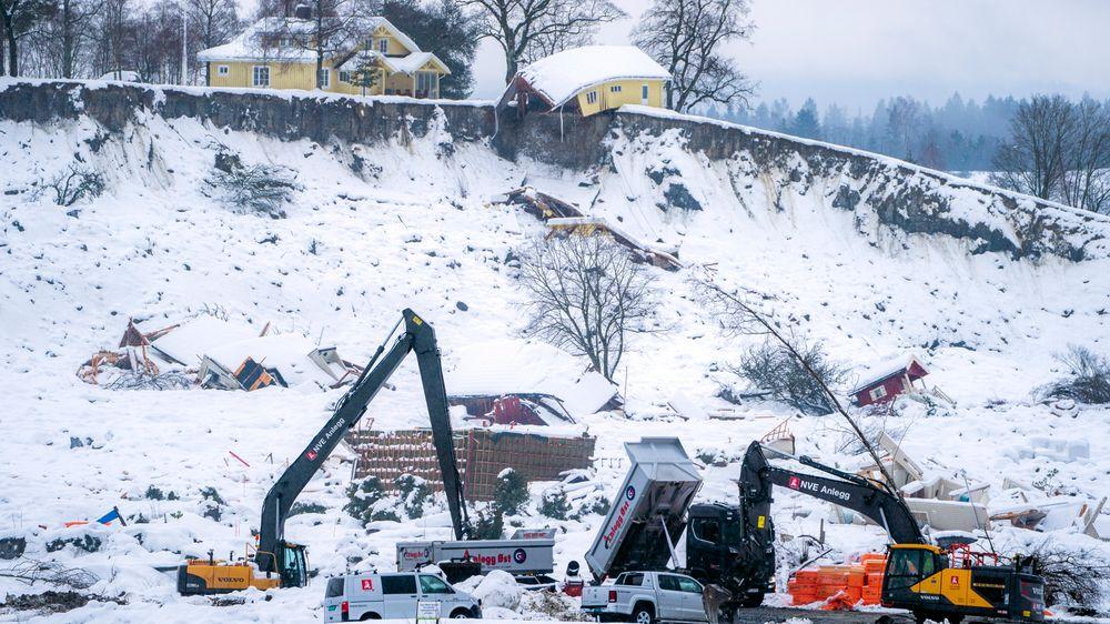 Vondt nytt år: I mørke natta rett før klokka 04 natt til 30. desember ble et boligfelt i Gjerdrum rammet av skred. 10 mennesker omkom.    Foto: NTB