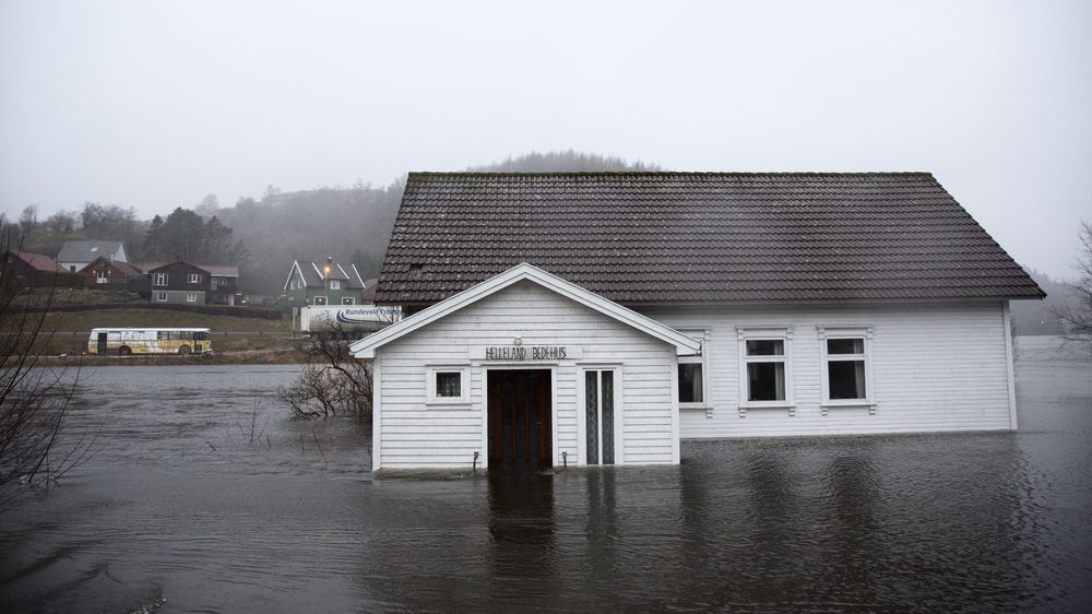 Analysen viser at andelen skader forårsaket av nedbør er nesten doblet på få år. Bildet er fra Helleland i Rogaland, etter en periode med store mengder regn.
