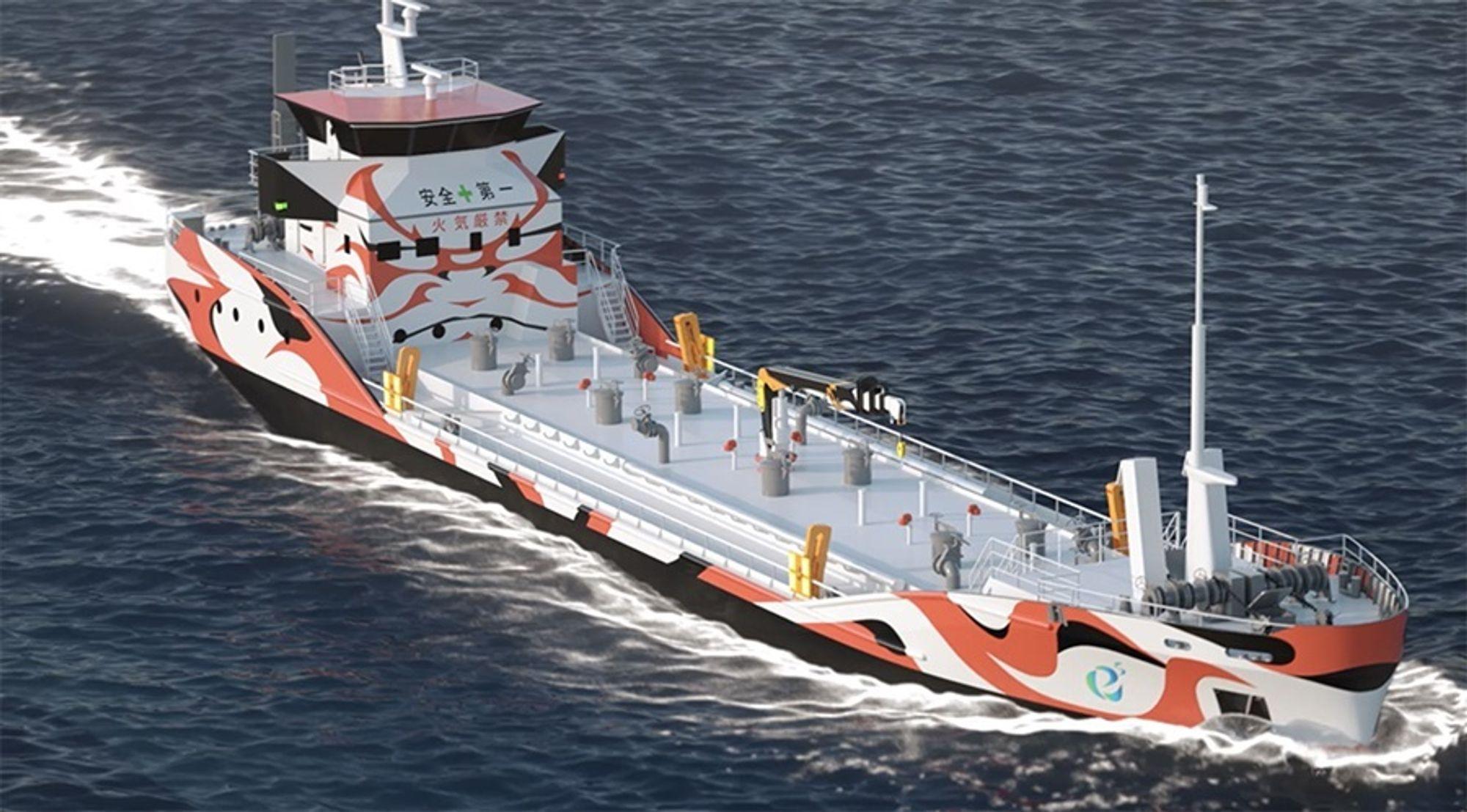 e5 tankskip. Asahi Tanker har bestilt to nullutslipps bunkringsfartøy  med kapasitet på 1.300 kubikkmeter. Skipene blir 62 meter lange og får 3.5 MWh batteripakker.