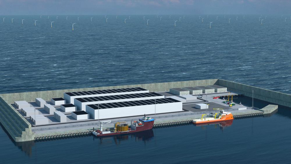 I den første delen av byggefasen, hvor 3 GW havvindmøller skal settes opp parallelt, vil øya ha et areal på 120.000 kvadratmeter.