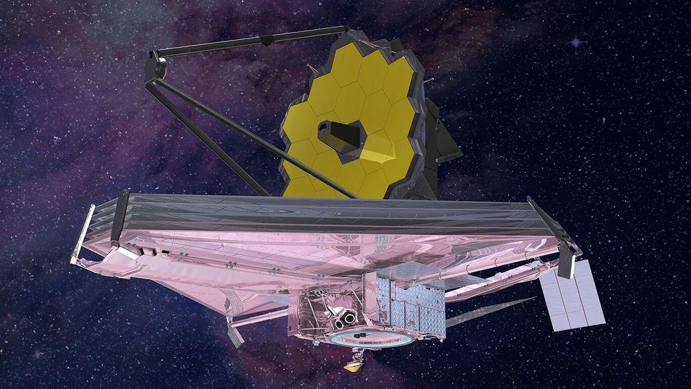 Illustrasjon som viser James Webb Space Telescope ute i verdensrommet.