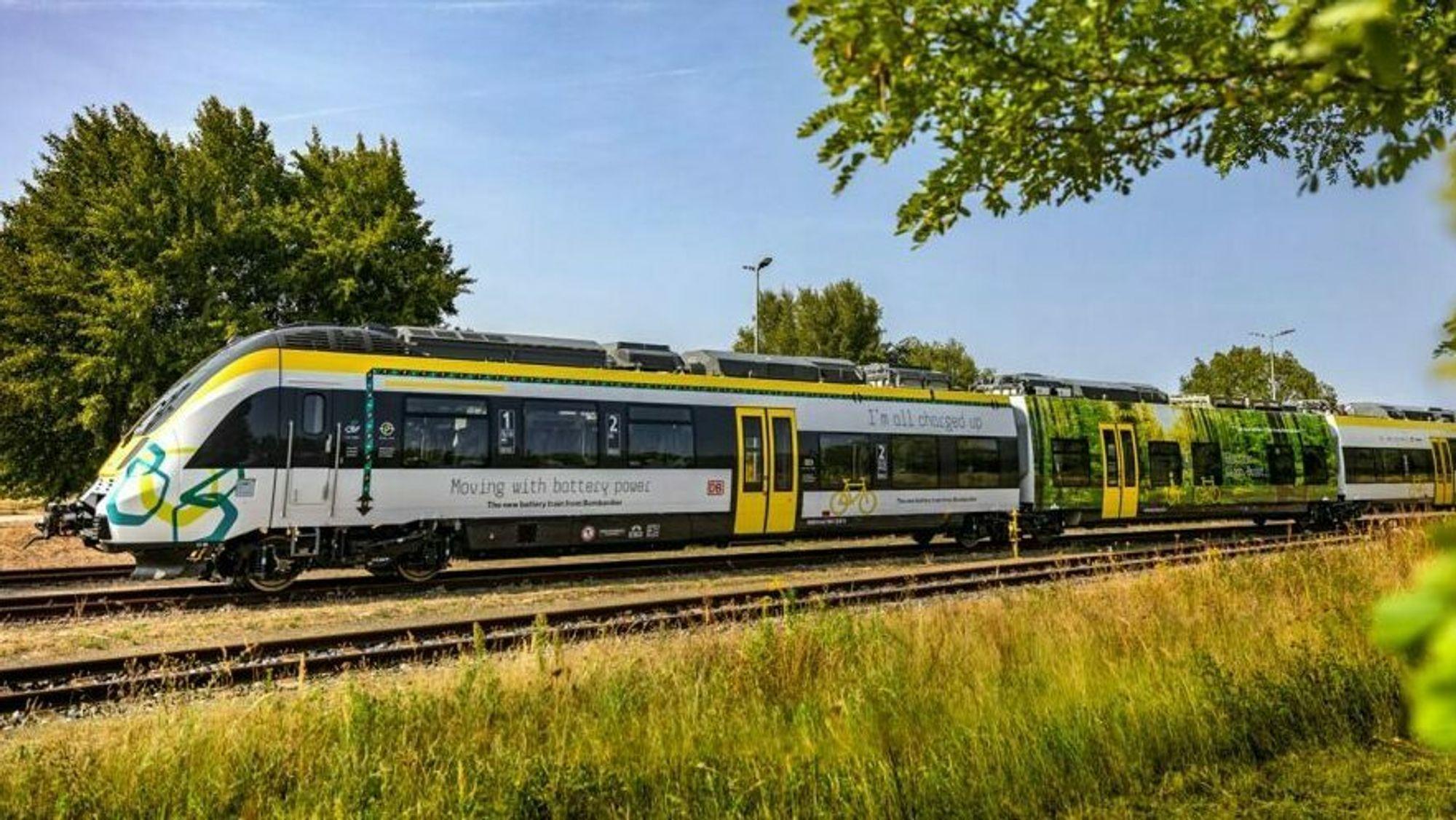 Et av stadig flere tog med batteridrift. Denne er levert av Bombardier Transportation.