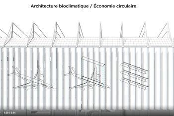 Prosjektgruppen har anskaffet flydelene fra et selskap som vedlikeholder fly. Skrogtoppen skal gjøres om til solbeskyttelse på 4400 m².