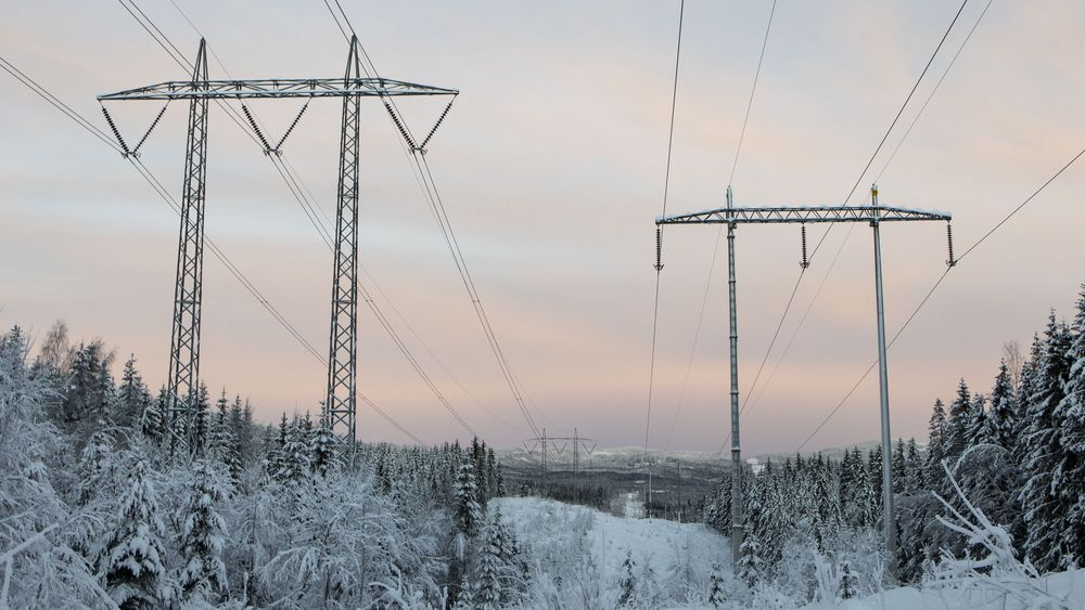 Høyspentledning på den såkalte Vinstralinja i Lillomarka i Nittedal. I fjor var strømprisen på det laveste siden 2002, ifølge Statistisk sentralbyrå.