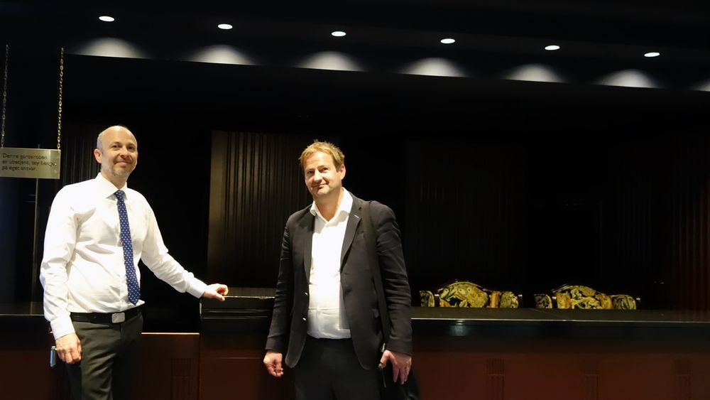 Gründer og oppfinner Torfinn Borsheim (t.h.) og advokat Halvor Manshaus, før de skulle i retten i en annen patenttvist.