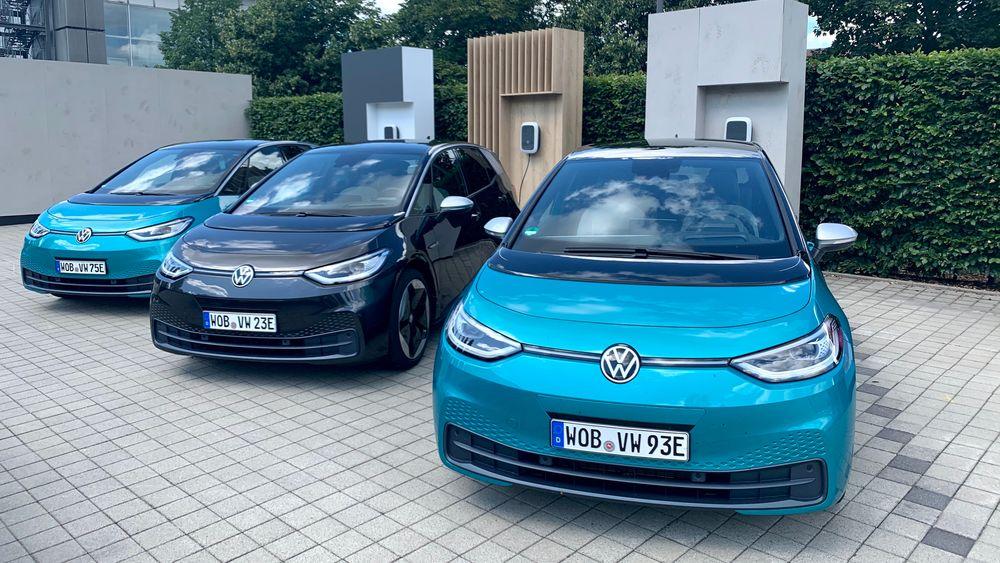 Et knippe ID.3 registrert av Volkswagen selv.