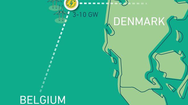 Danmark kan kobles til Belgia via energiøy