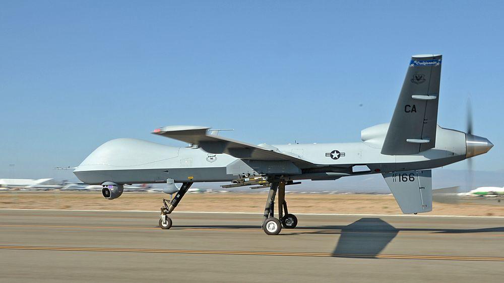 En av California Air National Guards MQ-9 Reaper-droner. Den ble utviklet av General Atomics Aeronautical Systems, og vil være blant de typene det danske forsvaret nå overveier å kjøpe.