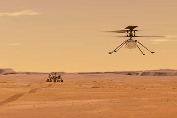 Ingenuity-helikopteret blir styrt av en nordmann og er verdens første romhelikopter. Foto: NASA/JPL-Caltech via AP / NTB