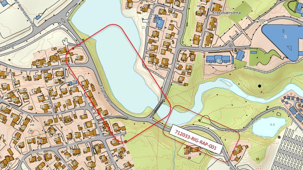 Kartet, hentet fra Multiconsult sin rapport, viser området de undersøkte knyttet til planene om gang- og sykkelvei. Den mindste rektangelet nederst til høyre viser tidligre undersøkt område.