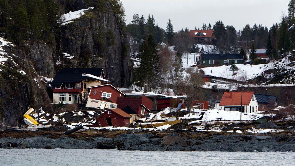Det går i snitt kvikkleireskred hvert eneste år i Norge. Bildet fra et skred som gikk i Namsos i Nord-Trøndelag for 12 år siden. Kun deler av potensielt skredfarlige områder er kartlagt, og bare deler av dette er tilgjengelig i databasen til NGU.