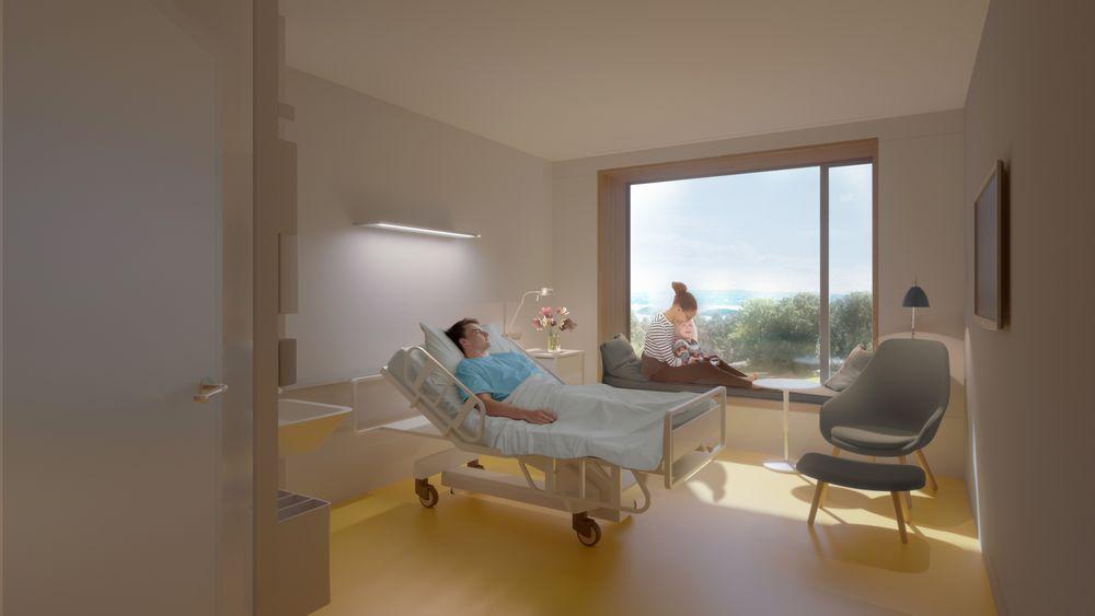 Illustrasjon av pasientrom på det nye sykehuset i Stavanger.