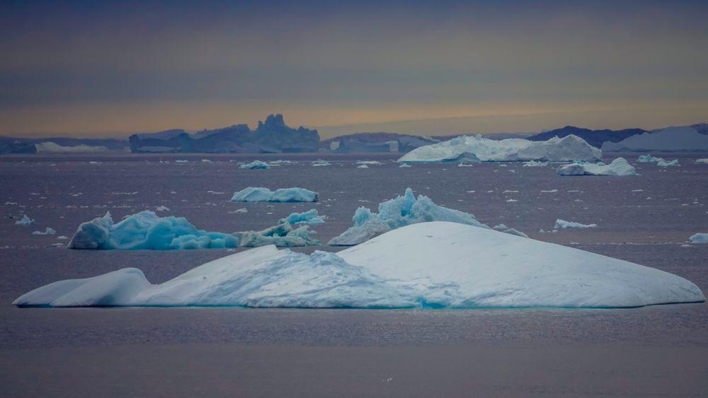 Drivende isfjell i Sermilikfjorden på Øst-Grønland.