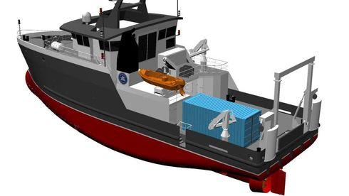 Havforskningsinstituttet får et 35 meter langt skip på 499 bruttotonn og rett under 1000 hk for å tilfredsstille paragrafkrav.  Design: LMG Marin - LMG 35-CRV