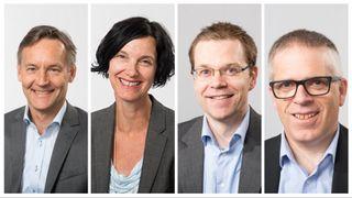 Disse vil bli toppleder ved Forsvarets forskningsinstitutt. Fra høyre: Espen Skjelland, Janet Martha Blatny, André Pettersen og Trygve Sparr.