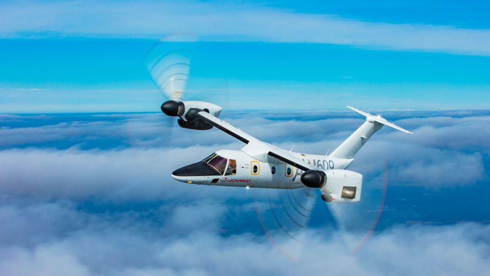 Dette er den tredje AW609-testmaskinen i lufta i nærheten av fabrikken i Philadelphia i USA.