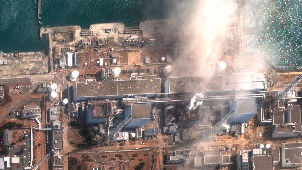 Satellittbilde som viste Fukushima Daiichi-atomkraftverket i Okuma i Fukushima tre dager etter katastrofen.