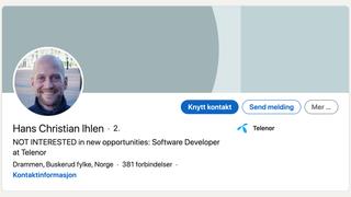 Utviklere pepres med tilbud på Linkedin: Hans Christian måtte skrive «IKKE INTERESSERT»